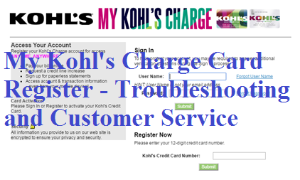 my kohl's charge card register